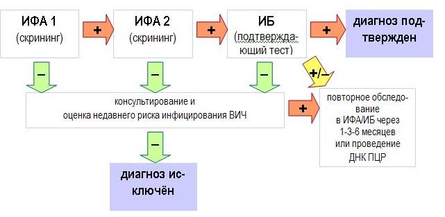 Диагностический алгоритм обследования на ВИЧ-инфекцию